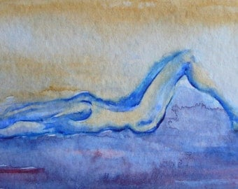 Original Watercolour blue-nude female figure