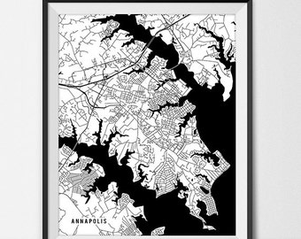 Annapolis Map Art Print Annapolis City Map Of Annapolis Art Poster Of Maryland State Map