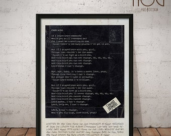 Lynyrd Skynyrd - Simple Man - Free Bird - Polaroid Inspired Lyrics Poster