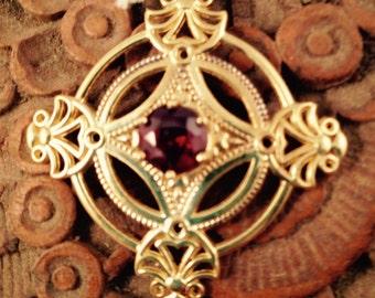 Vintage Look Garnet Slide Pendant