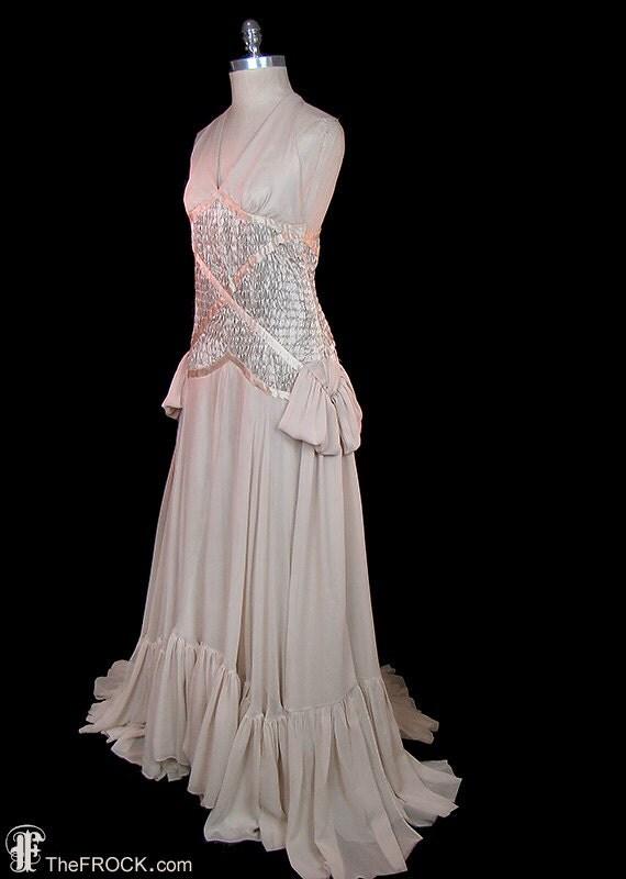 1930s wedding or evening dress vintage post flapper era nude