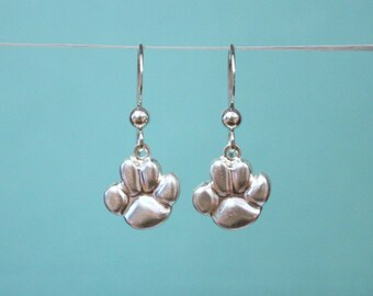 Sterling Silver Paw Print Earrings, Sterling Silver Dangle Earrings, Dog Earrings, Dog Lover Gift, Dog Lover Jewelry, Dog Lover Earrings