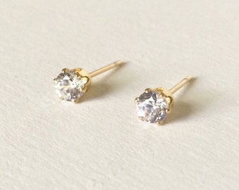 Petite Crystal (4mm) with Gold Stainless Steel Post Stud Earrings(ERN-2),316L Surgical Steel, Wedding Jewelry, Bridesmaids, Petite Earrings