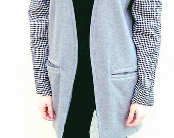 V-neck Coat-Coat grey with Houndstooth details- Jacket black white grey- Wool jacket