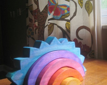 Sunset Stacker, BIG wooden rainbow stacking toy, sunset colors Waldorf and Montessori inspired toy
