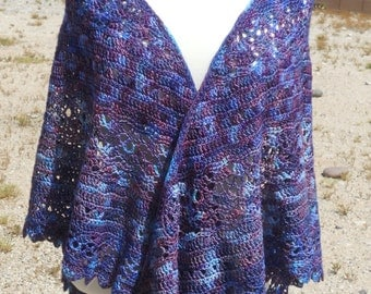 Purples and Blue Variegated Wool Triangular Crocheted Shawl