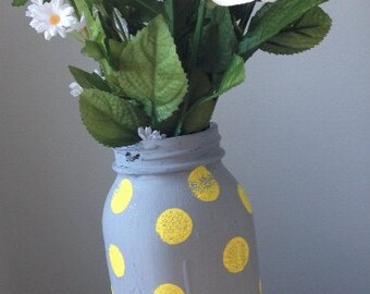 Quart Size Yellow and Gray Chalk Paint Polka Dot Mason Jar or choose your own custom colors