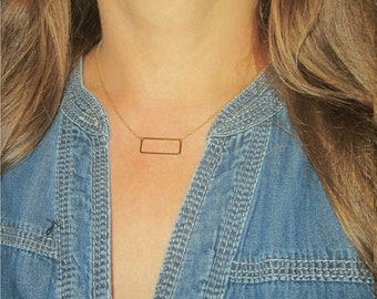 Open Rectangle Necklace / Minimal Jewelry / Rectangular Choker / Layering Geometric Jewelry / Everyday Necklace / N121