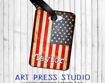 Grunge American Flag Travel Luggage Tag, Patriotic Bag Tag, Personalized USA Flags Bag Tag, Antiqued Flag Luggage Tag