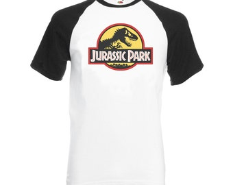Vintage Style Jurassic park Baseball T-Shirt Contrast Sleeves Black all Sizes Crew Neck White T shirt