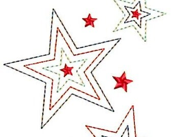 "5"" Large USA Patriotic Stars Embroidery Design - Instant Digital Download"
