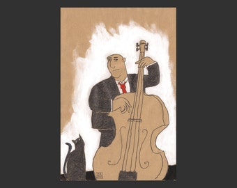 Drawing» Bassist with Cat «