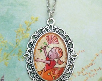Girls necklace, with beautiful ballerina flower illustration in pendant with glass