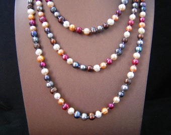 "64"" Hand Knotted Necklace, Natural Freshwater Pearl Necklace,Multicolor Pearl Jewelry, Freshwater Pearls, Multicolor Bead Necklace, Pearls"
