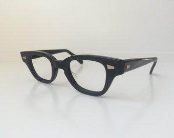 Vintage Child's Glasses - Clear Lens Retro Eyeglasses - Boy's Girl's Black Round Eyeglass Frames - Cat Clear Horn Rim 20
