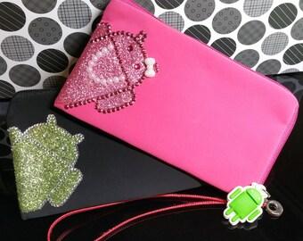 Android Droid Phone Case Zipper Clutch Purse Bag