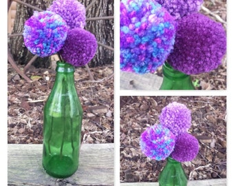 Pom Pom Flower Bouquet, Purples, with Green Antique Bottle