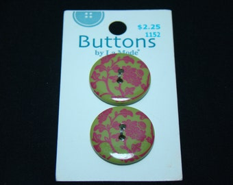 Green and Pink Flower Buttons by LaMode - Two Hole - Sew Through