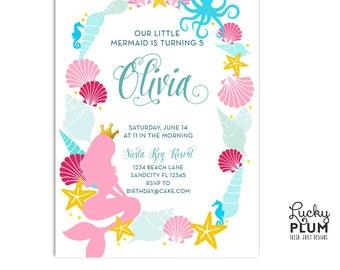 Mermaid Birthday Invitation / Modern Ocean Nautical Invite / Mermaid Baby Shower Invitation / Seahorse Octopus Invite / Summer Invite