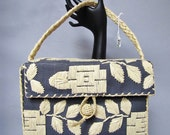Woven RAFFIA Straw, Vintage 1940's 1950's BOX BAG Purse, w Braided Handle, Made in Japan