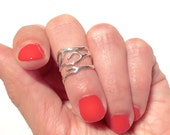 Sterling Coral Midi Ring above the knuckle ring- size 2.5/3