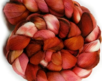 Merino Wool Roving - Hand dyed Wool for Spinning and Felting, Hand Painted Combed Top - A19