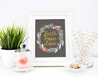 Faith hope and love wall decor