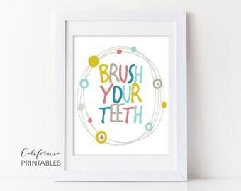 Bathroom Signs Brush Your Teeth brush your teeth art | etsy