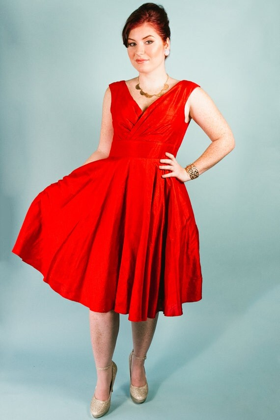 Silk Dupioni Gathered Surplice Vintage Style  Dress in Scarlet Red pockets fit n flare knee length v neck full back circle skirt rockabilly