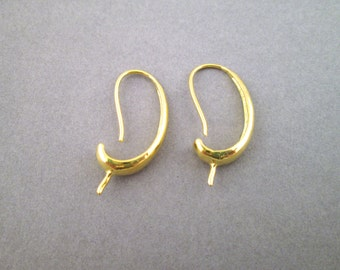 30mm Earring Hooks, 14k Gold Plated For Half Drilled Beads, C105