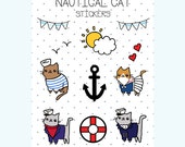 SALE Nautical Kitty Cat Sticker Sheet Half Price