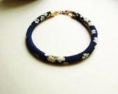 Japanese Kimono Cord Bracelet // Floating Cherry Blossoms Dark Indigo //  22K Gold Plated End Caps & Clasp // Chirimen Cord Bracelet
