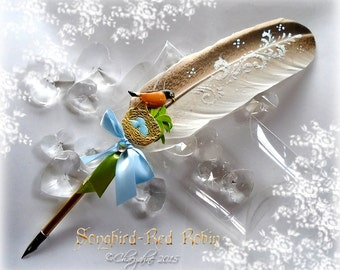The SONG BIRD Feather Quill Dip Pen - ROBIN