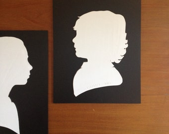 Silhouette Portrait in Ceramic, Custom Made, Child or Adult Face, Personalized Art