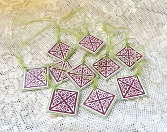 Celtic Knot Square Tags, Irish Christmas, Wedding or St. Patrick's Day Packaging Tags, Party Favor Tags in Light Green, Burgundy, Set of 10