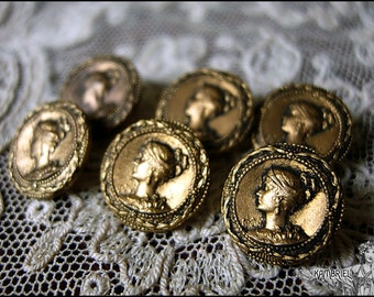 """Antique French Victorian Art Nouveau Empress Metal Button - Napoleon III - Petite 1/2"""" Size - sold individually, up to 3 available"""