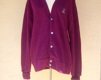 Vintage cardigan / plum purple preppy sweater / Lacoste IZOD slouchy sweater / unisex medium large