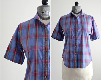 Plaid Shirt • Plaid Blouse • Picnic Plaid Top • Button Up Blouse • 1970s Cotton Shirt • Cotton Top • Collared Shirt • Button Down Shirt