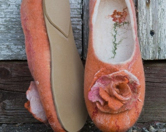Natural wool slippers womens house shoes Orange Felted handmade slippers Wedding gift