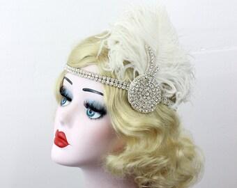 Silver Headband - Ivory Feather Fascinator - Crystal Rhinestone Hair Accessory - Great Gatsby Wedding Headpiece - 1920s Flapper Costume