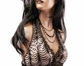 Halter, B Cup, Sequins, Cream, Black, Gold, Noir, Bellydance, Dark Fusion Boutique, Carnival, Tribal, Circus, Cosplay, Bra, Gothic