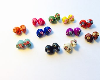 Sugar Skull Beads Day of the Dead Rainbow Variety--11 Pairs of 13mm Skull Beads