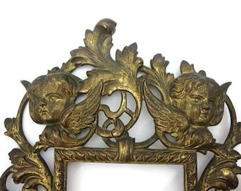 Victorian Photo Frame - Ornate Cast Iron, Cherubs