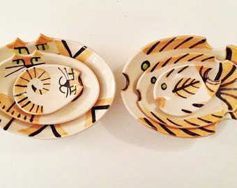 Calico fish dish nesting Ceramic Plate stacking set of hand made to order feline or nautical decor