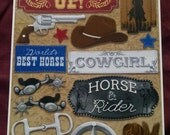 Saddle Up - Cowboy/Cowgirl Cardstock Stickers - Destash