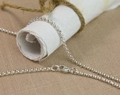 Silver Rolo Chain Necklace Natural Argentium Sterling 2mm thick w/ Lobster Clasp any inch 12 14 16 18 20 22 24 26 28 30 32 34 36 38 40