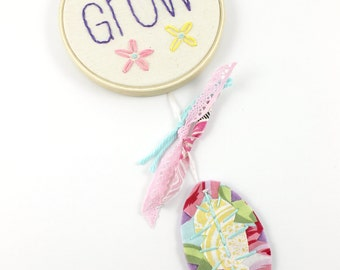 Dreamcatcher Grow Embroidery Words Mini Wall Hanging Nursery Art