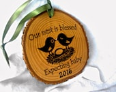 EXPECTING BABY ORNAMENT Announcing Pregnancy First Christmas Ornament Pregnancy Reveal to Grandparents Godparent Gift Bird Nest Baby Shower