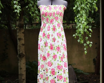 "By the Half Yard: Instant Maxi Dress - Shirred Fabric ""ROSE"""