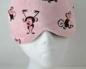 Minky Monkey Travel, Sleep, Eye Mask, Comfortable & Light Blocking in a soft pink and brown minky ~ MADE TO ORDER